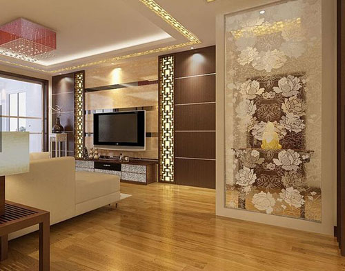这款混搭风格背景墙,以褐色花纹装饰的石纹装饰而
