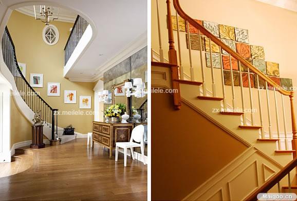 别墅楼梯背景墙设计 摆脱单调墙面