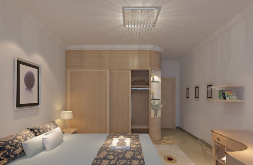 在卧室空间中,床和衣柜一般是必备的家具