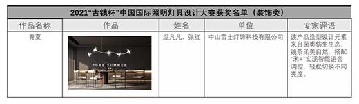"""展原创设计之美,雷士照明""""青夏""""斩获2021中国国际灯具设计大奖"""